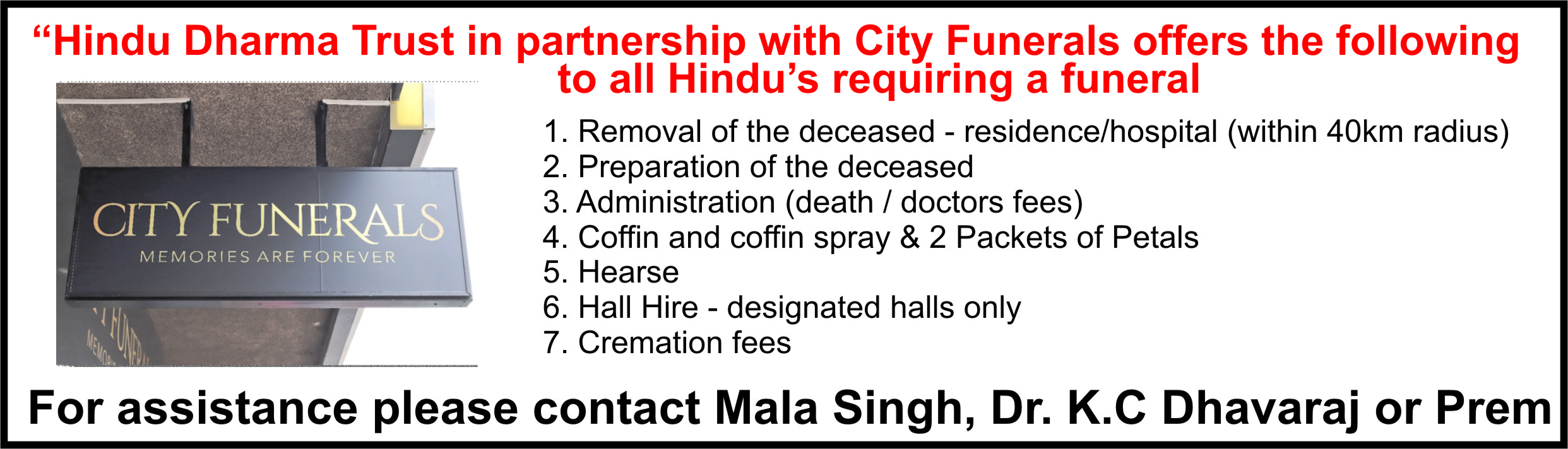 Funeral assistance - who to contact
